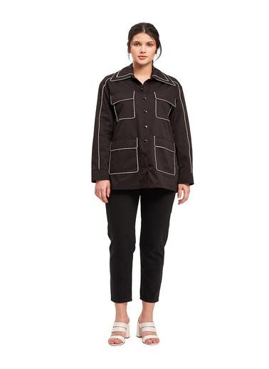Mizalle Biye Detaylı Ceket Siyah